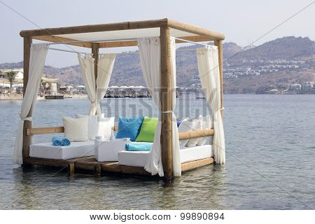 Pergola White Cushions And Curtains In The Sea Romantic