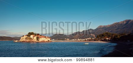 Sveti Stefan, small islet and resort in Montenegro. Balkans, Adriatic sea, Europe. Beauty
