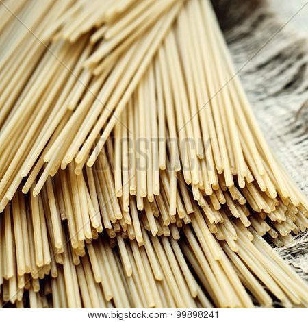 Italian Spaghetti Lying On Sackcloth