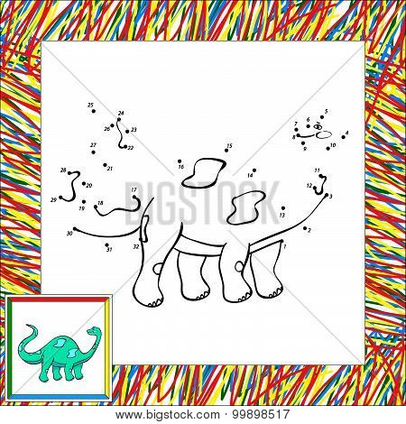 Funny Cartoon Diplodocus Dot To Dot