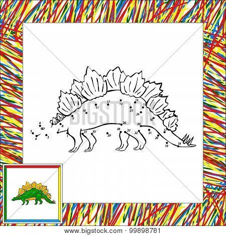 Funny Cartoon Stegosaurus Dot To Dot