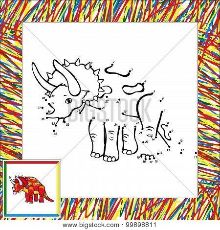 Funny Cartoon Triceratops Dot To Dot