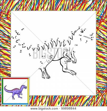 Funny Cartoon Tyrannosaur Dot To Dot