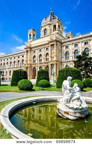 Vienna Austria. Beautiful view of famous Kunsthistorisches (Fine Arts Museum) with park Maria-Theresien-Platz and sculpture in Vienna Austria