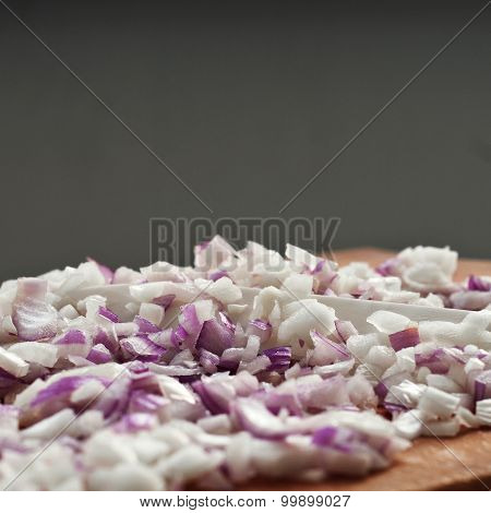 Chopped Onions On A Chopping Board Closeup