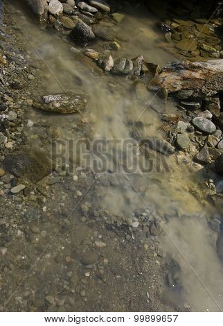 Deposit Of Clay On The Mountain River, Raw Healing River Clay In Nature