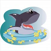 picture of loan-shark  - Shark  swimming in the dollars sea isolated - JPG