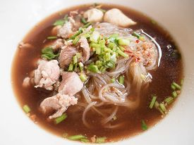 image of noodles  - pork noodle with soup Thai style - JPG