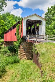 stock photo of yesteryear  - Also known as the Hildreth Covered Bridge or Lafaber - JPG