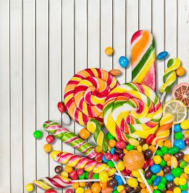 stock photo of lolli  - Retro mix food closeup isolated stick lolly - JPG