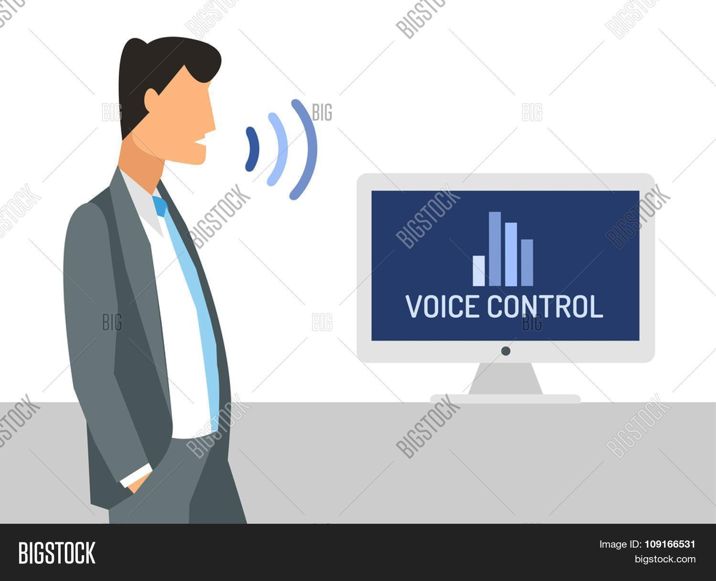 Voice control vector illustration. Smart computer voice control ... - ^