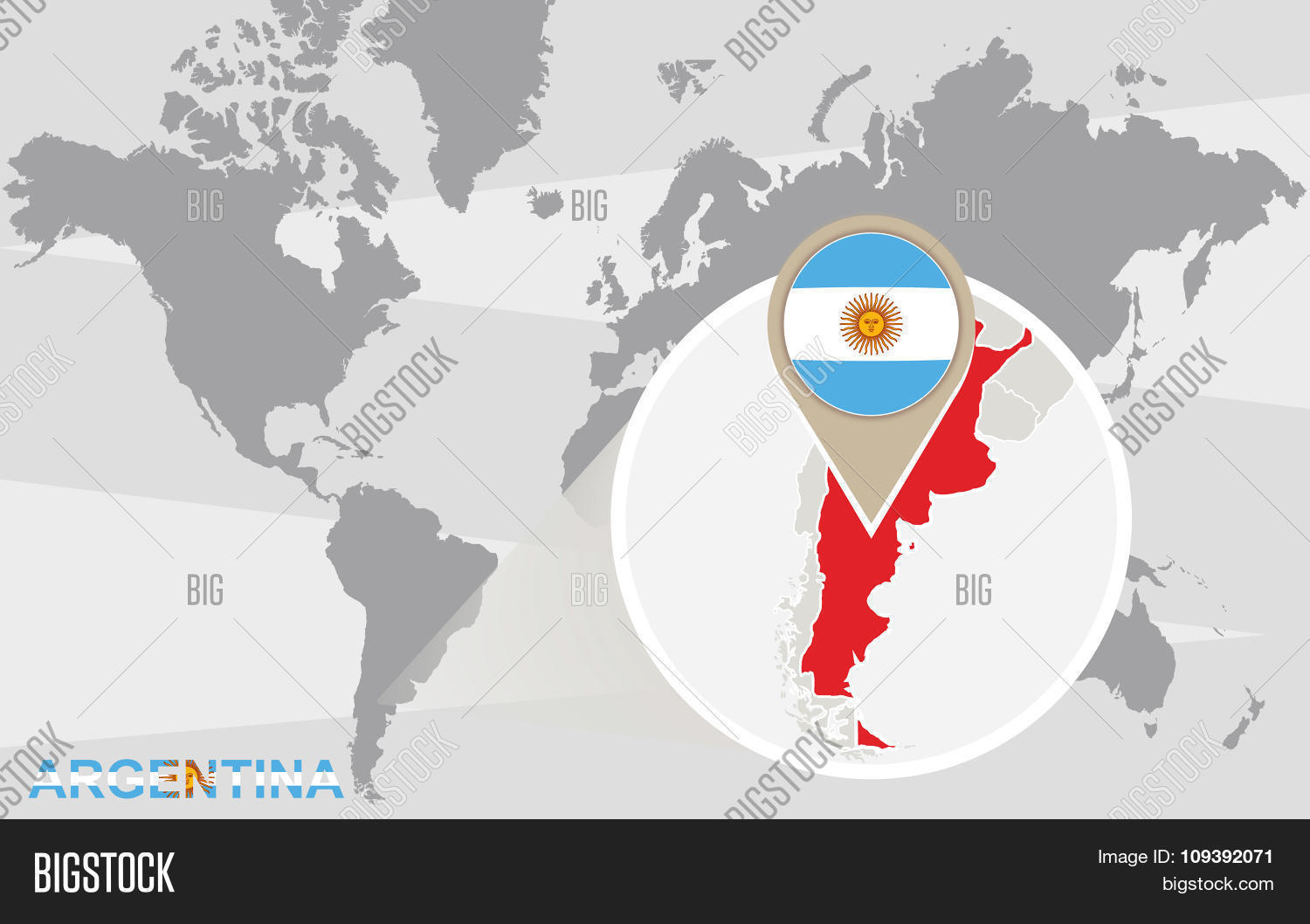 World map magnified argentina vector photo bigstock world map with magnified argentina gumiabroncs Image collections