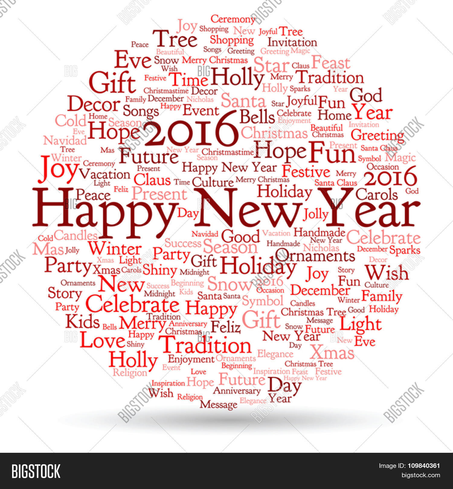 vector concept conceptual red vector photo bigstock vector concept or conceptual red happy new year 2016 christmas abstract holiday word cloud isolated on