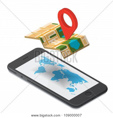 GPS navigation isometric illustration