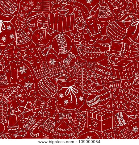 Christmas seamless background with many winter doodles. Greating card. Toys, cookies, snowmen, fir,