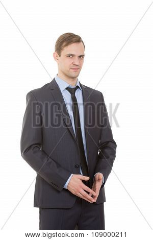 body language. man in business suit isolated on white background. gesture of confidence. excellence