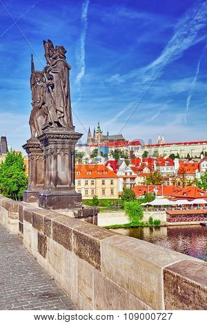 View Of Prague Castle From Charles Bridge.czech Republic.