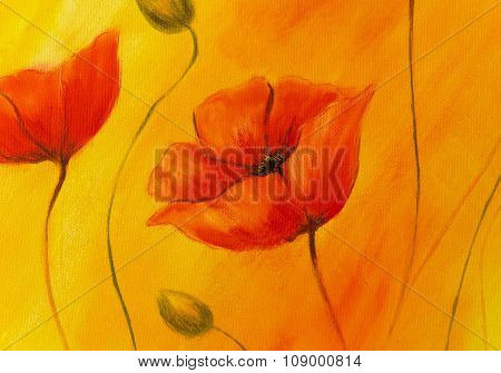 Red poppy on orange background. Red poppies. Red flower on abstract color background