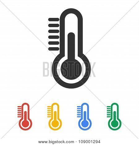 Thermometer Icon. Flat Design Style.