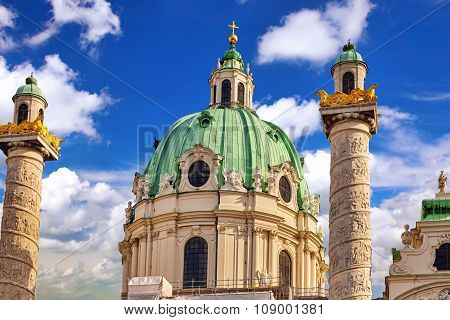 Charles Church (karlskirche) On Charles' Square(karlsplatz).the Largest Area Of The Square On The So