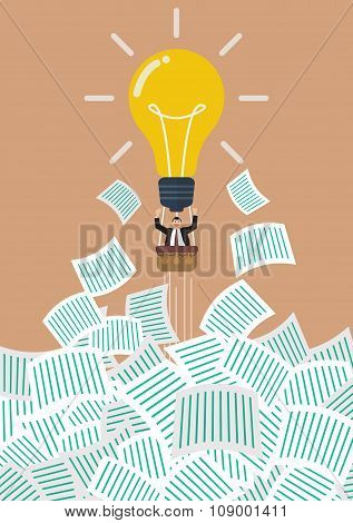 Businessman On Lightbulb Balloon Get Away From A Lot Of Documents