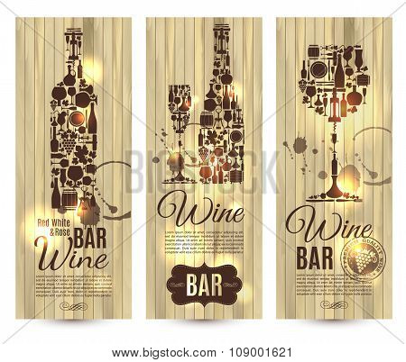 Wine Bar Menu Card....banners Set Vector Illustration On Wood.
