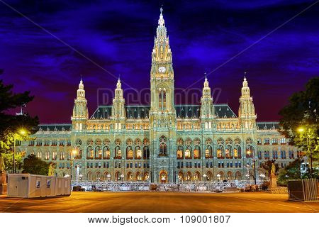 Vienna's Town Hall (rathaus) At Nightime.vienna. Austria.