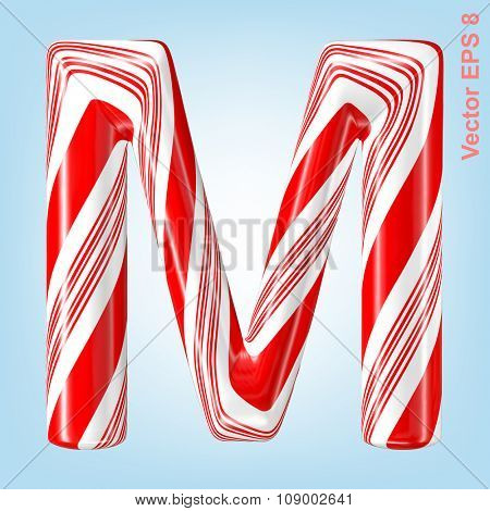 Mint hard candy cane vector alphabet collection striped in Christmas colours. Letter M. Eps 8 using mesh.