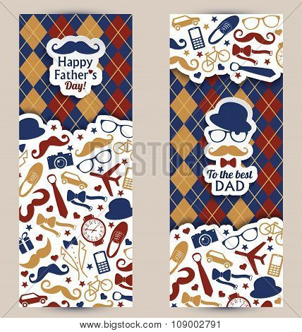 Fathers Day Set Of Banners.vector Illustration.