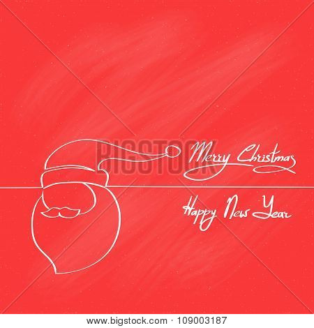 Red Santa Claus Hat Merry Christmas Happy New Year Banner