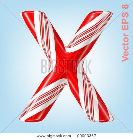 Mint hard candy cane vector alphabet collection striped in Christmas colours. Letter X. Eps 8 using mesh.