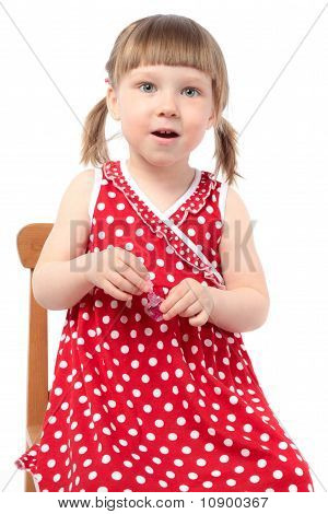 Beautiful Little Girl With Nail Polish Isolated On White Background. Surprise