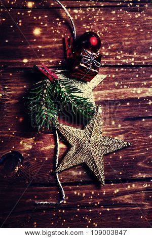 ..christmas Composition With Golden Star. Christmas Card With Christmas Rustic Decorations On Wooden