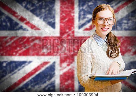 Student girl on english union jack blurred background