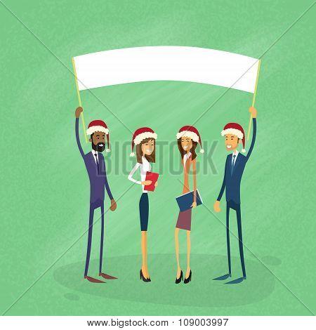 Businessmen Christmas Santa Hat Show White Board