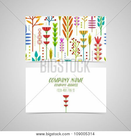 Template design business cards and invitations with a geometric pattern of flowers, plants, twigs, b