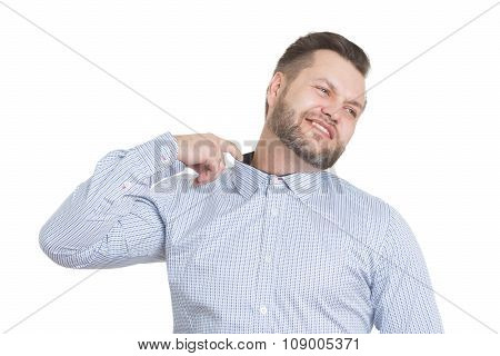 adult male with a beard. isolated on white background. gesture lies. pulls the collar