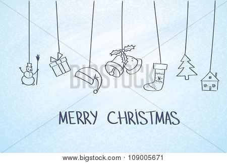Gift Box Hanging Simple Line Sketch Blue Frost Ice Background