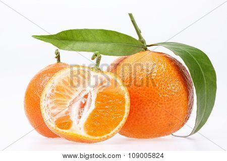 Some Fruits Of Clementine Isolated On White Background