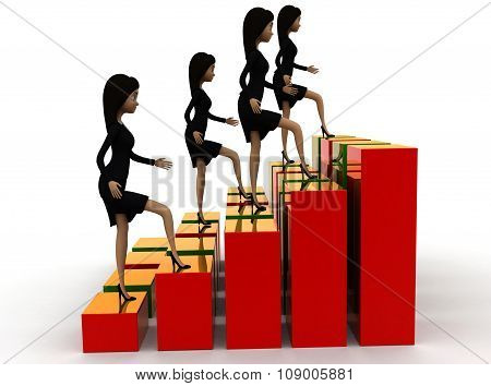 3D Group Of Woman ,each One Situated In Different Places Of A Bar Graph Concept