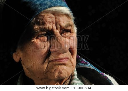 The sad, old woman
