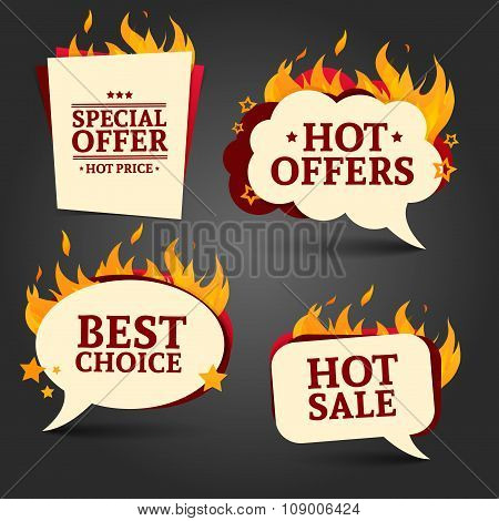 Set of logos, badges, buttons, icons, price tags for discounts, special offers, hot sale. Shape bubb