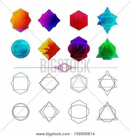Set minimalist abstract geometric and polygon shapes, symbols, logos, frame, badges, icons with abst
