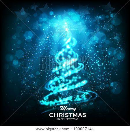 Shining Christmas tree. Glittering stars on bokeh background. ?elebratory salute - festive fireworks. Elegant Christmas background. Abstract Winter background. Christmas abstract bokeh