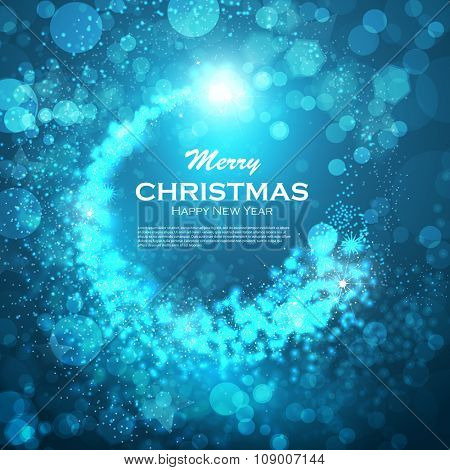 Glittering stars on bokeh background. Shooting stars, shining powder. Blue glittering bokeh stars dust. Elegant Christmas background. Festive fireworks