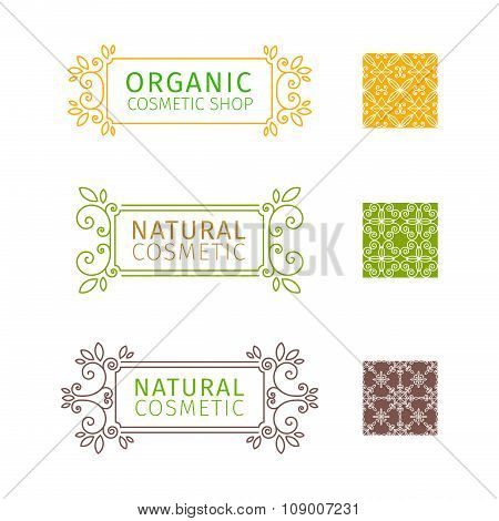 Set of decorative frames with swirls and floral elements for natural cosmetics. Set of seamless patt