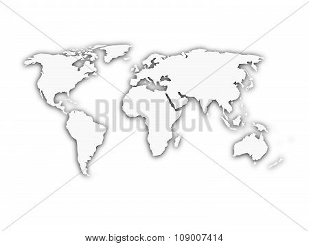 White world map with shadow silhouette