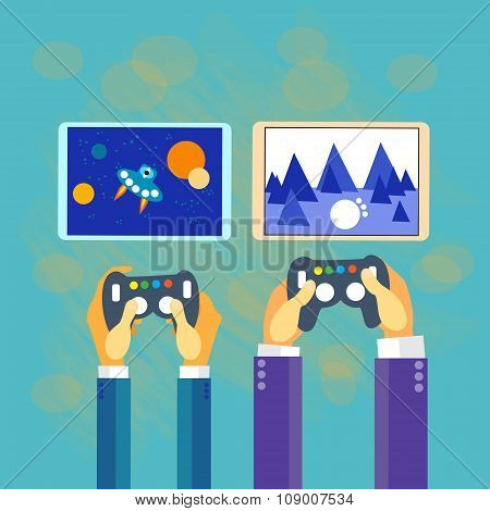 Business Man Hands Gamer Play Tablet Video Game Screen