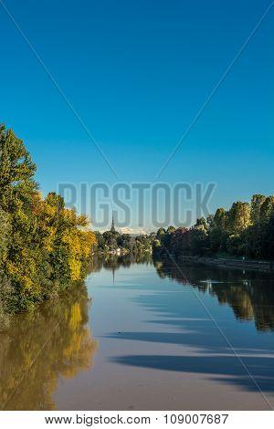 The Po River in autumn, Turin
