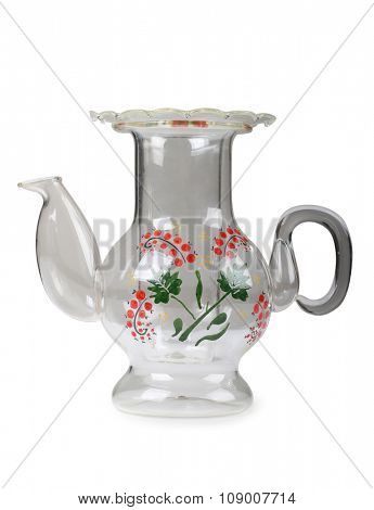 Glass teapot on a white background